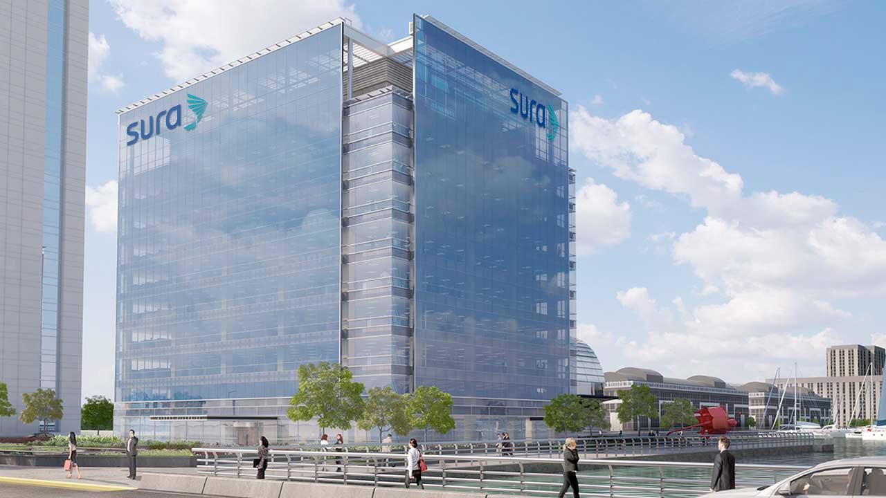 Nuevas oficinas corporativas de sura en puerto madero for Oficina virtual puerto madero